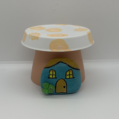 Mushroom plastic pot and mini rock house for your fairy garden or flower boxes