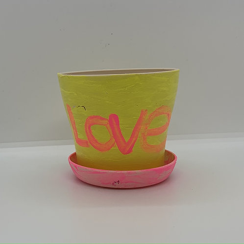 4 inch plastic LOVE pot to shine up your day