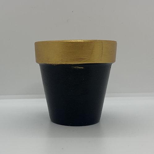 Golden topped 3 inch terra cotta pot to shine shine shine