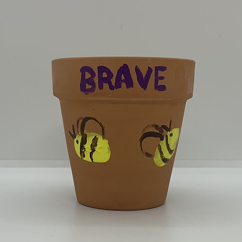 Bee Brave handpainted on this 3 inch terra cotta pot for you