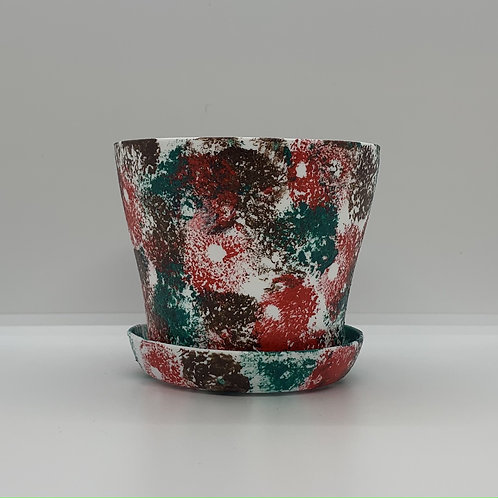 Hand sponge painted 4 inch plastic pot and saucer just for you