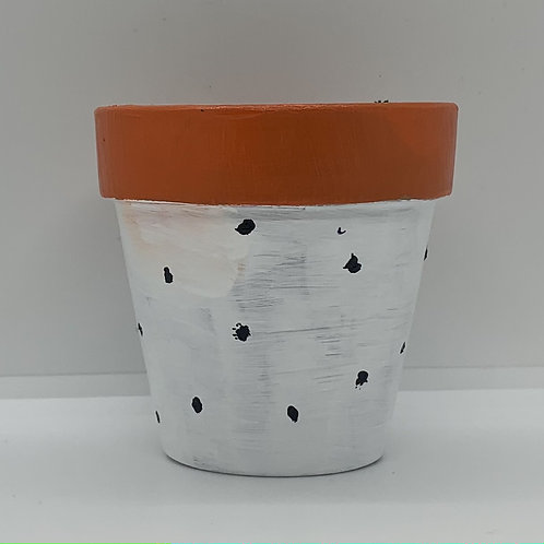 Black and white one of a kind 3 inch terra cotta pot - dots