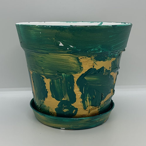 Green and gold texture painted 6 inch plastic pot and saucer that pops