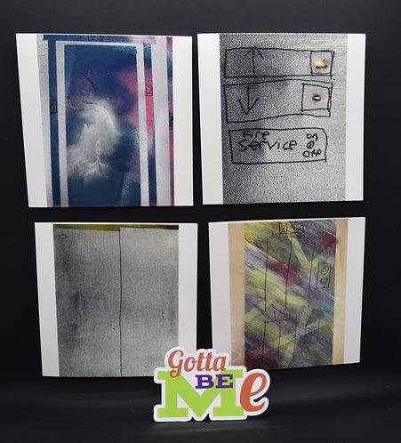 4 Original Elevator Painting Cards by artists Benjamin Bond