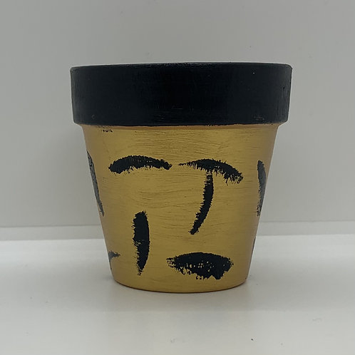 Art deco gold and black 3 inch handpainted terra cotta pot