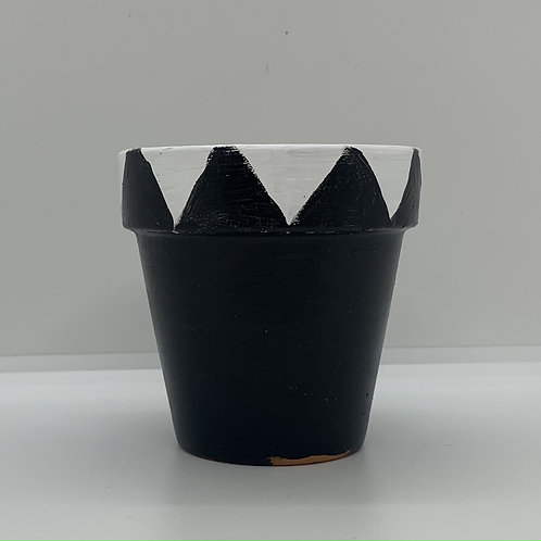 Black and white one of a kind 3 inch terra cotta pot - crown