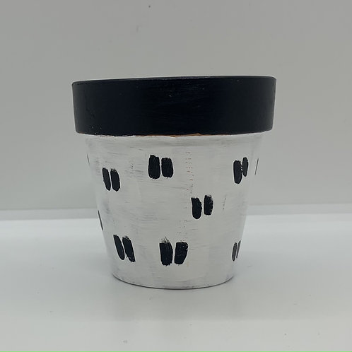 Black and white one of a kind 3 inch terra cotta pot - Dashes