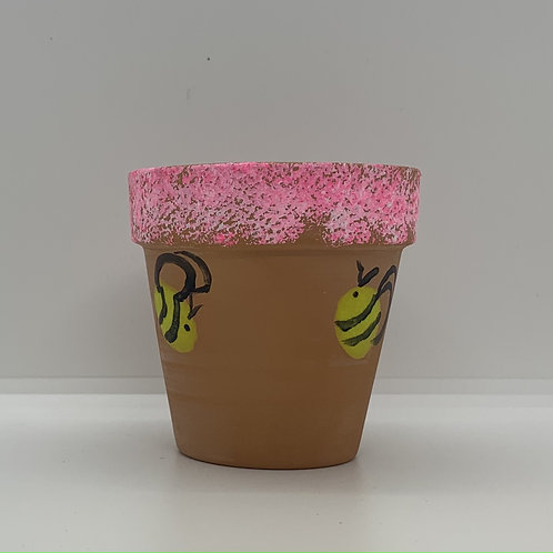 Bee with pink fringe 3 inch terra cotta pot