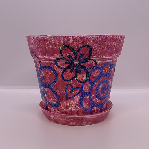 Super fun sponge and stencil hand painted 6 inch plastic pot and saucer for you!
