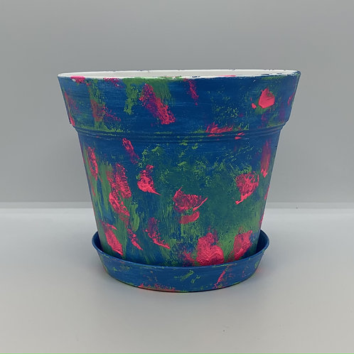 6 inch plastic handpainted one of a kind pot and saucer Layered colors
