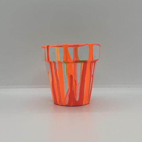 Orange drop 3 inch terra cotta handpainted pot
