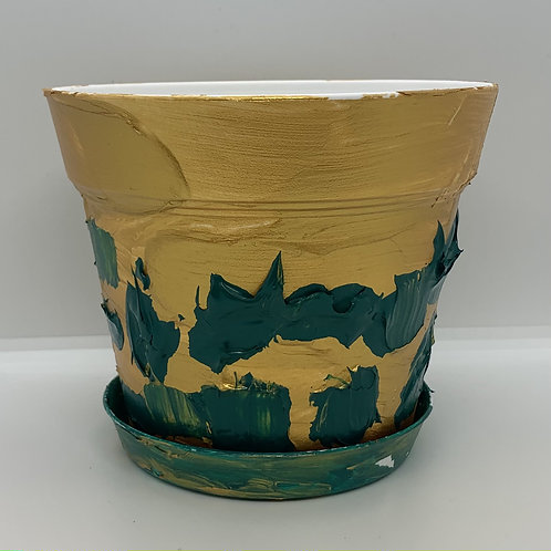 Gold and Green textured one of a kind 6 inch plastic pot and saucer