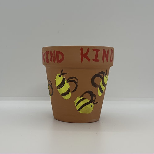 Bee Kind one of a kind handpainted 3 inch terra cotta pot