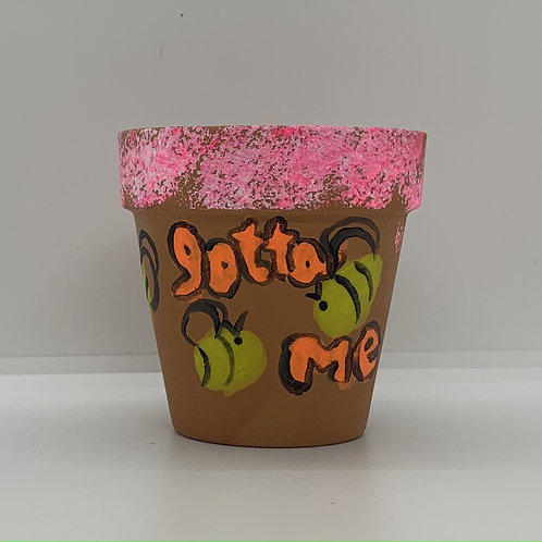Gotta BEE me 3 inch handpainted terra cotta pot for you