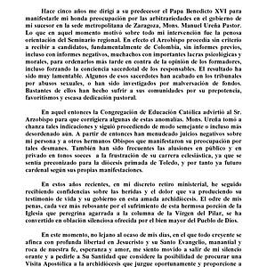 Carta de D. Elías Yanes al Papa Francisco