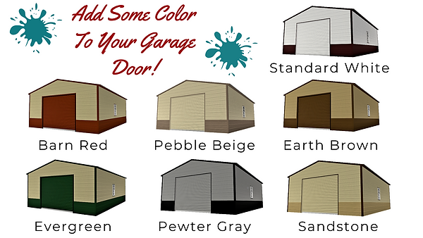 Angus Portable Buildings Colored Roll Up Doors