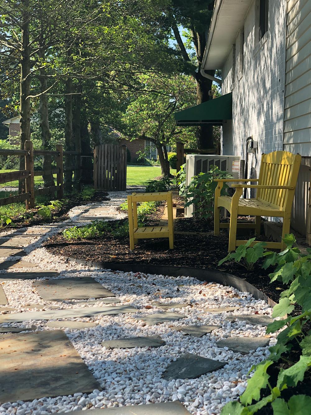 side yard after native plant makeover