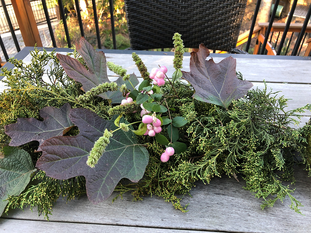 native plant greens for decor in pink and green palette
