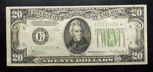 1934 $20 Federal Reserve STAR Note E Richmond Virginia Bank Scarcer