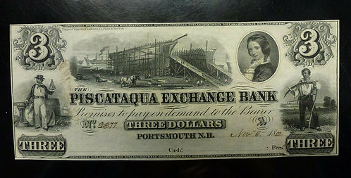 1852 PISCATAQUA Exchange Bank $3 Portsmouth N.H. Obsolete Crisp UNC Remainder