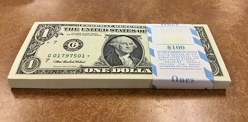 2006 $1 BEP PACK 100 STAR NOTES CONSECUTIVE Serial numbers G Chicago bank