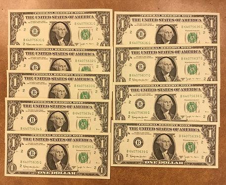 1963 B $1 Barr Notes 9 consecutive B/G block