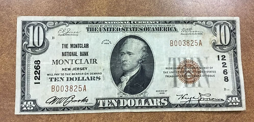 1929 National Currency $10 Montclair New Jersey Bank #12268 Serial #3825