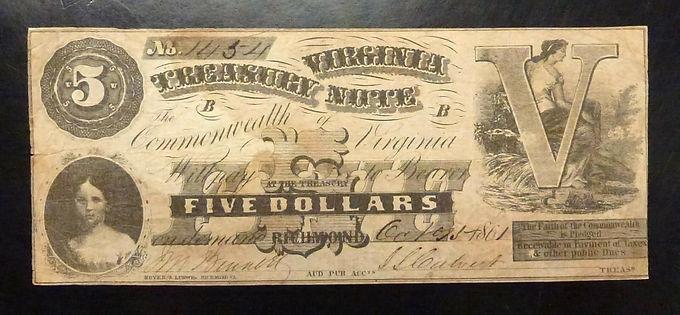 1861 Five Dollars VIRGINIA TREASURY NOTE Civil War Oct 1961 Richmond