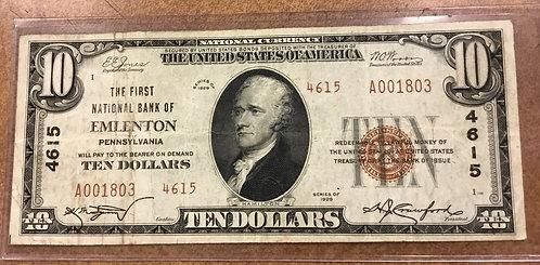 1929 $10 First National Bank of Emlenton, PA ty2 Charter #4615 Venango Co Rare