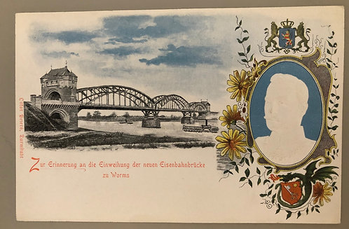 "Vintage German Postcard ""In memory of inauguration"" of RR bridge to Worms"