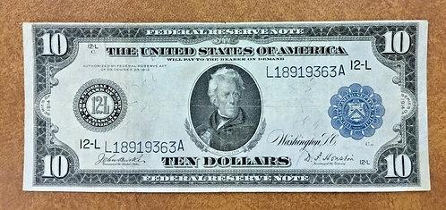 1914 Large Size $10 FRN San Francisco 12-L Fr#950 Burke Houston Signature