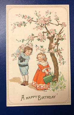 Vintage 1900's Embossed A HAPPY BIRTHDAY Postcard Children in Edwardian clothes