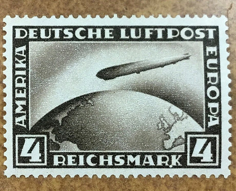 GERMANY 1928 Zeppelin Stamp Mint NH C37 Plattenfehler White plate error