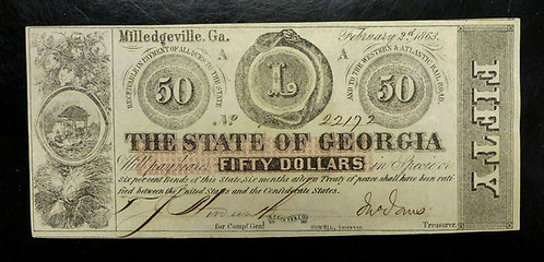 1863 $50 State of Georgia Milledgeville GA AU Obsolete