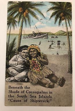 COMIC Postcard Shipwrecked Sailor On Island, Ship Cancel - U.S.S. Lejeune 1947