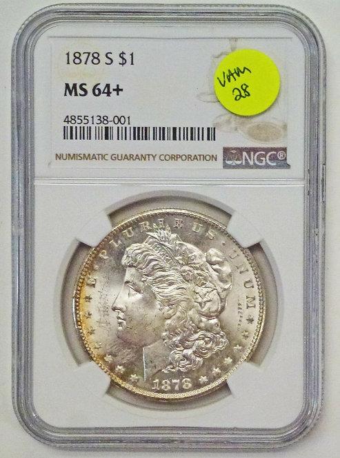 1878-S MORGAN 90% Silver DOLLAR NGC MS64+ VAM 28