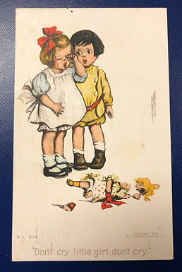 Vintage 1907 Postcard CHILDREN w/ broken Doll, Don't cry little girl, don't cry