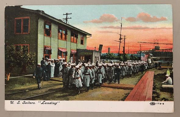 "RARE US Sailors ""Landing"" WW1 hand colored Photo postcard 1909 Doughboys US Navy"