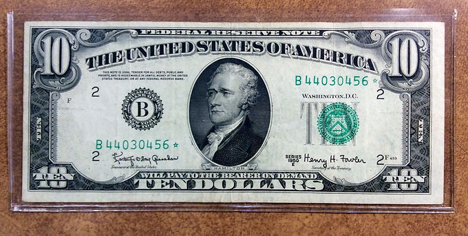 1950-E $10 * STAR Note Fed Reserve New York VERY FINE Fr#2015 B