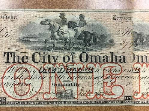 1857 City of OMAHA Nebraska Territory $1 Bearer Note Scarce Obsolete