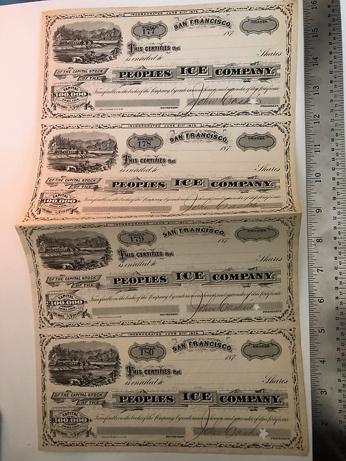 1875 Peoples Ice Company San Francisco Stock Certificates, UNCUT SHEET OF 4