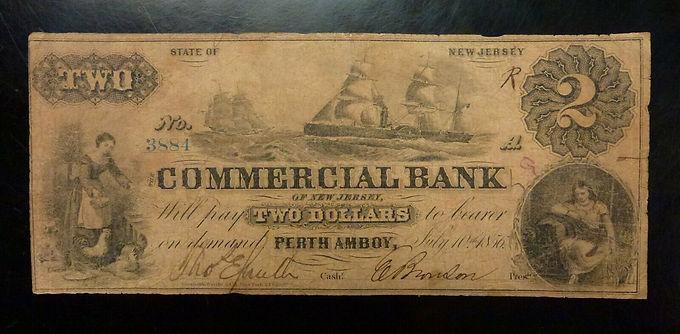 1856 $2 Commercial Bank Perth Amboy, NEW JERSEY - Sailing Ships