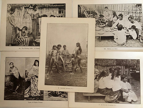 5 Prints Native family dining, bathing 1899 Philippines, Spanish American War