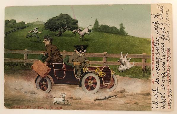 COMIC Vintage 1908 Postcard Cartoon CRAZY Driver -Man Escapes the Back of Car
