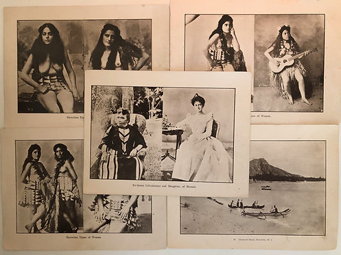 5 Prints Indigenous Women of Hawaii, Queen & Princess 1899 Spanish American War