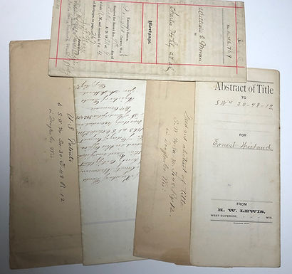Wisconsin Lot: Abstract of Title 1890, Mortgage 1890, US Patents registered 1863