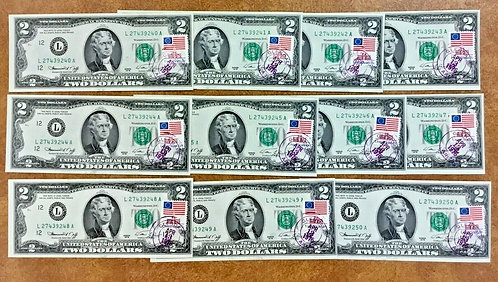1976 $2 FIRST day w/ Stamp GLENDALE AZ San Francisco L 11 consecutive Notes