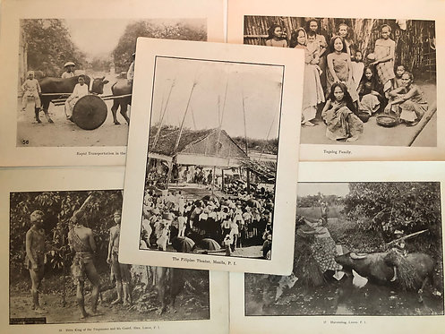 5 Prints Indigenous Family, Harvesting + Philippines 1899 Spanish American War