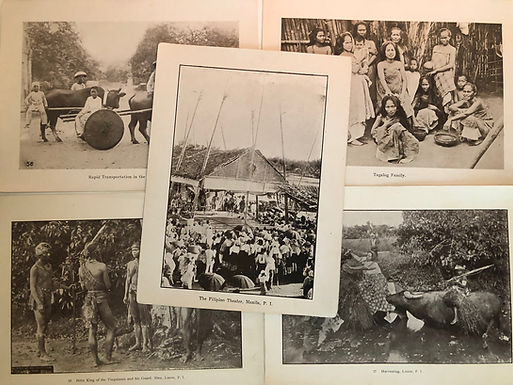 5 Prints Indigenous Family, Harvesting + Philippines 1899 Spanish American War