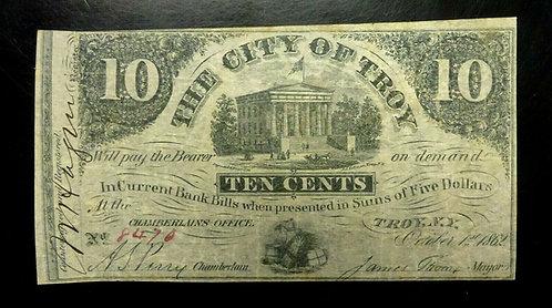 1862 TEN CENTS City of Troy N.Y.  Obsolete Note